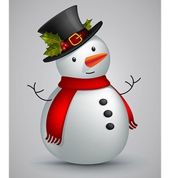 Snowman in red scarf vector