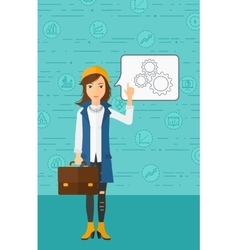 Business woman pointing at cogwheels vector