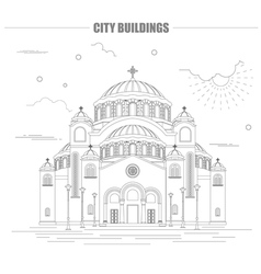 City buildings graphic template belgrad cathedral vector