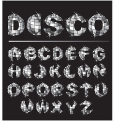 Silver disco ball letters vector