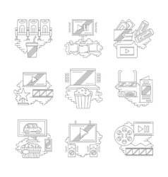 Movie and cinema detailed line icons vector image