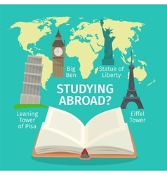 Abroad studying foreign languages concept vector