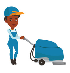 African worker cleaning store floor with machine vector
