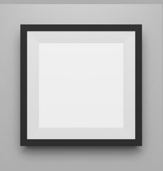 Black square image frame template with shadow vector