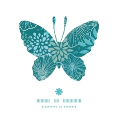 Blue and gray plants butterfly silhouette pattern vector
