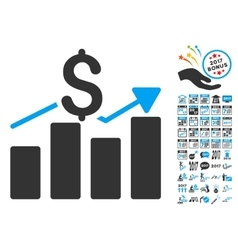 Business chart icon with 2017 year bonus vector