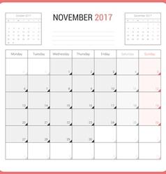 Calendar planner for november 2017 vector