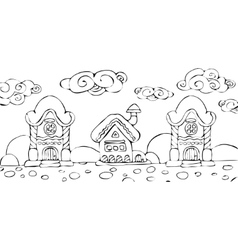 Christmas disign with fairy houses in snow vector