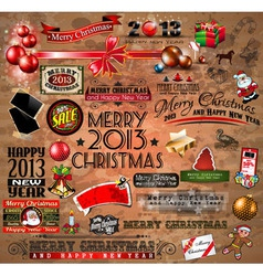 Christmas Vintage typograph design elements vector image vector image