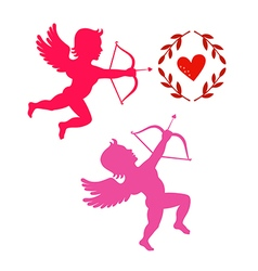 Cupids take aim isolated on white vector image