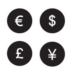 Currency symbols black icons set vector