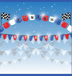 Finish and start flags on blue background vector
