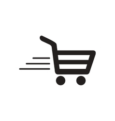 Flat icon in black and white cart vector