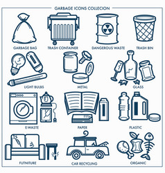 Garbage or wastes trash line icons set vector