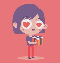 Girl in Love Holding a Present vector image vector image