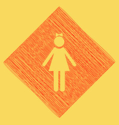 Girl sign red scribble icon vector