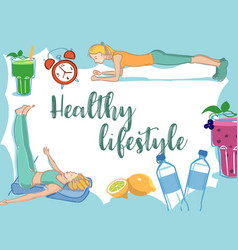 Healthy lifestyle elements frame card vector