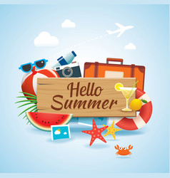 Hello summer time travel season banner design and vector