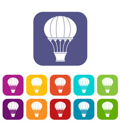 Hot air balloon with basket icons set flat vector