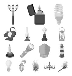 light source monochrome icons in set collection vector image vector image