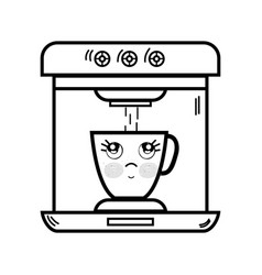 Line kawaii cute thinking coffee maker technology vector