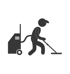 Man user professional vaccum cleaning figure vector