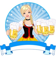 Oktoberfest girl label vector image
