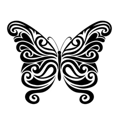Ornamental butterfly silhouette vector