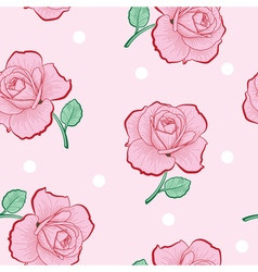 Pink roses and white dots on pink seamless vector image vector image