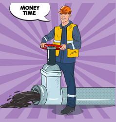 Pop art industrial worker with oil pipe vector