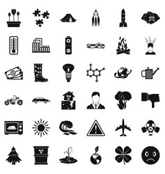 Radiation icons set simple style vector