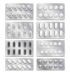 Realistic 3d drugs packaging painkiller pills vector