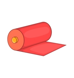 Red fabric roll icon cartoon style vector