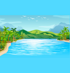 River scene with trees and mountains vector