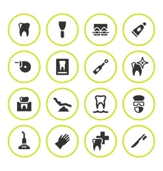 Set round icons of dental vector
