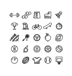 Sports outline symbols equipment thin line vector
