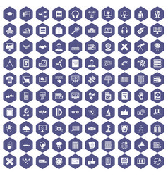 100 education technology icons hexagon purple vector
