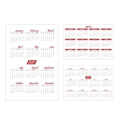 Horizontal and vertical pocket calendar vector