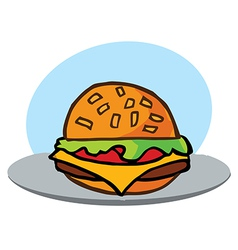 Cartoon cheeseburger with lettuce vector