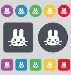 Rabbit icon sign a set of 12 colored buttons flat vector