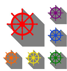 ship wheel sign set of red orange yellow green vector image