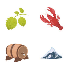 Alps a barrel of beer lobster hops oktoberfest vector