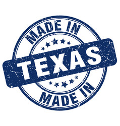 Made in texas blue grunge round stamp vector