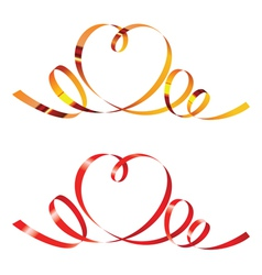 Gold and red curling ribbons in shape of heart vector
