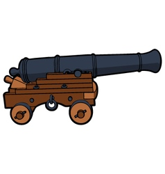 Naval cannon view side vector