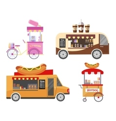 Street and fast food transport equipment vector