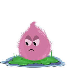 Funny round pink angry monster on the grass vector