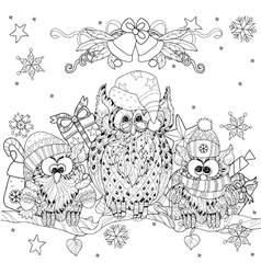 Christmas owl on tree branch with small owls vector
