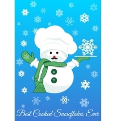 Snowman with silver tray holding snowflake vector
