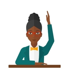 Woman raising her hand vector image